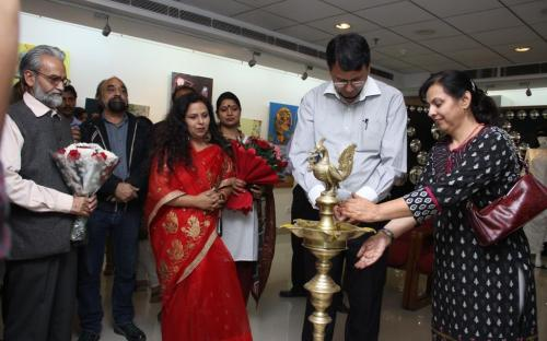 "Dr. Charu WaliKhanna, Member, NCW inaugurated exhibition ""Paint for Justice"" on 08.11.2012 at New Delhi, organized"