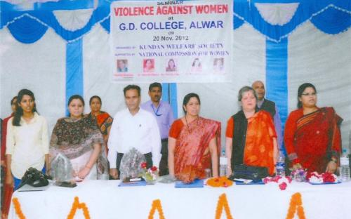 "Ms. Mamta Sharma, Hon'ble Chairperson, NCW with Ms. Hemlata Kheria, Member attended a seminar on ""Violence Against Women"" at G D College, Alwar"