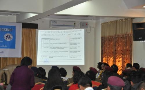 "Ms. Wansuk Syiem, Member, NCW was chief guest at a seminar on ""Rape and Human Trafficking"" on 1st February, 2013 at Aizwal"