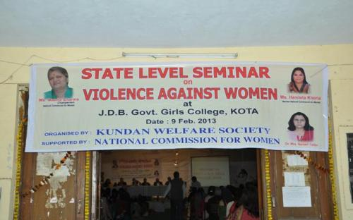 "Hon'ble Chairperson along with Member Hemlata Kheria were the chief guest at State Level seminar on ""Violence Against Women"" at Kota, Rajasthan"