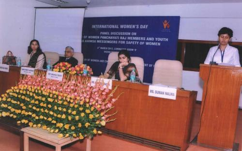 "Dr Charu WaliKhanna Member NCW was Panelist in discussion on ""Role of Women Panchayati Raj Members in the Safety of Women"" on Women's Day"