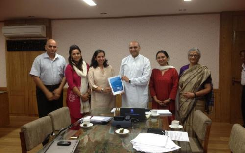Dr Charu WaliKhanna, Member, NCW presented the Report of the Expert Committee on Gender and Education to the Honourable Minister for HRD Sri M M Pallam Raju in his office in Shastri Bhawan
