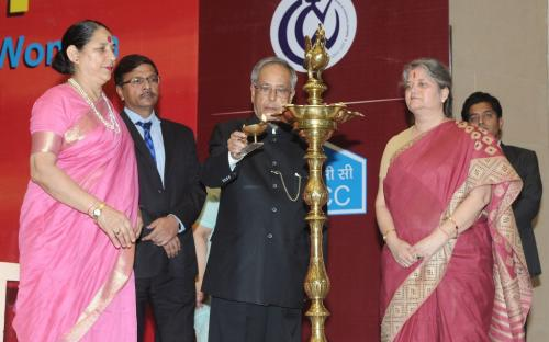 "NCW organized a ceremony to mark the laying of foundation stone of ""Nirbahaya Bhawan"" permanent headquarters of the Commission by Shree Pranab Mukharjee, Honrable President of India"