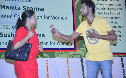 """Smt. Mamta Sharma, Hon'ble Chairperson, NCW was the chief guest at the launching of the campaign """"Building a Safe City for Women"""""""