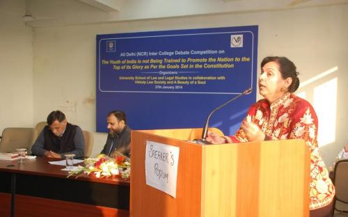 Dr. Charu WaliKhanna, Member, NCW, Chief Guest at the Prize Distribution Function organised by University School of Law and Legal Studies