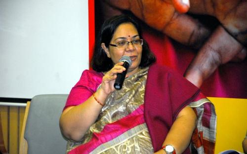 Smt. Lalitha Kumaramangalam, Hon'ble Chairperson, NCW addressing the gathering