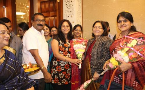 Smt. Lalitha Kumaramangalam, Hon'ble Chairperson, NCW with participants during Aurora - the beginning of awaking