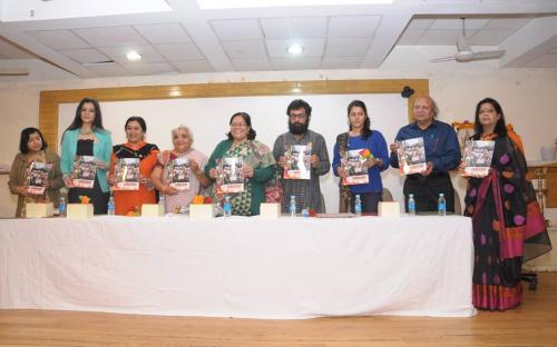 "Smt. Lalitha Kumaramangalam, Chairperson, NCW with other dignitaries releasing the booklet ""JWALA"""