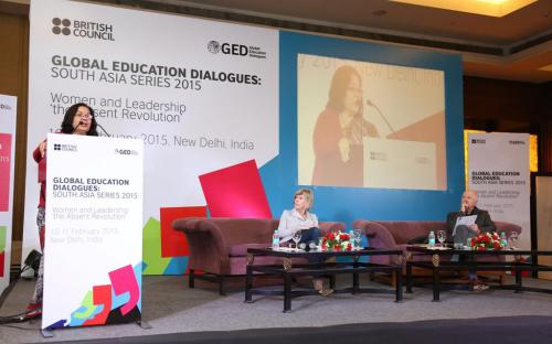 Smt. Lalitha Kumaramangalam, Hon'ble Chairperson, NCW addressing the gathering during Global Education Dialogue
