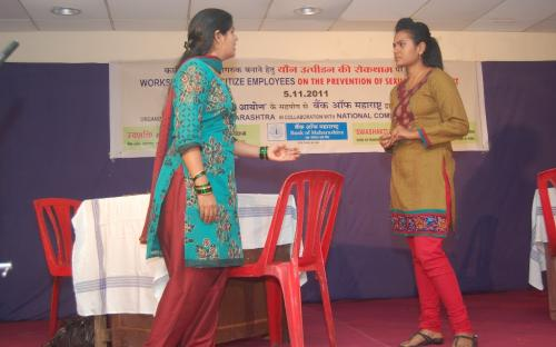 "Scene relating to sexual harassment in office from DRAMA titled 'Youn Peedan-Ek Gambhir Samasya' on ""sexual harassment – one serious problem' written, directed and performed by employees of Bank of Maharashtra"