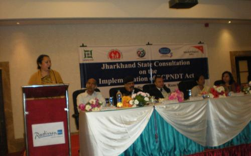 Hemlata Mohan, Chairperson State Commission for Women Jharkhand, addressing participants