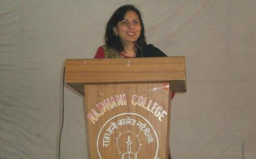 "Dr. Charu WaliKhanna, Member, NCW delivered lecture on ""Contribution of SAVITRI BAI PHULE in the upliftment of women in India"" at Rajdhani College, New Delh"