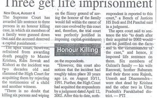 Three get life improsonment. (The Tribune, Delhi)