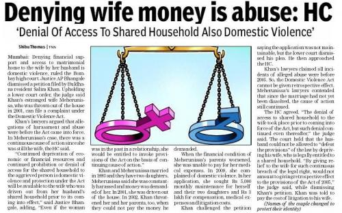 Denying wife money is violence : HC
