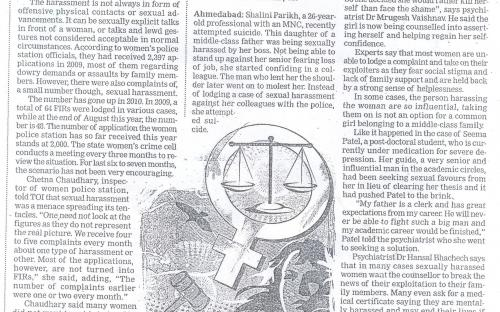 More Women reporting Sexual Harassment, Say City Police (Times of India, Ahemdabad