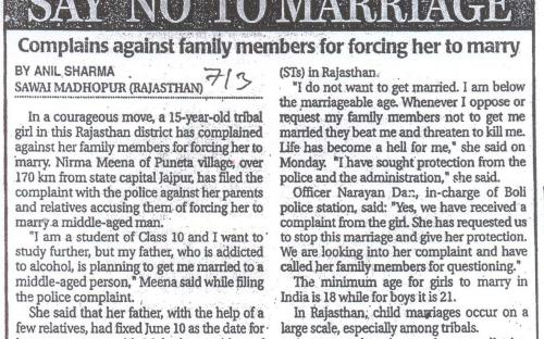 Minor girl dares to say 'NO' to marriage.