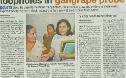 "Dr. Charu WaliKhanna, Member, NCW tour Bihar in view of the rising ""Crime Against Women"" on 17th August, 2012."