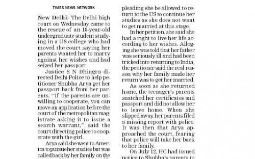 HC to rescue of girl pressured to marry.