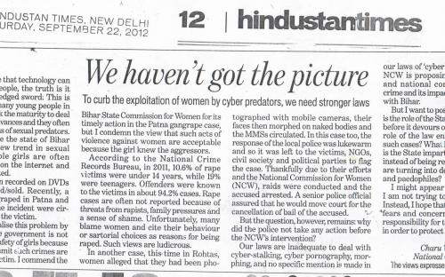 We haven't got the picture - To curb the exploitation of women by cyber predators, we need stronger law. By: Dr. Charu WaliKhanna, Member, NCW