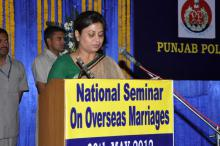 "Hon'ble Member Shamina Shafiq attended the ""National Seminar on Overseas Marriage"" held on 30th May, 2012 at Jalandhar, Punjab"