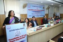 Smt. Lalitha Kumaramangalam, Hon'ble Chairperson, NCW addressing the gathering during the consultation held at IIPA.